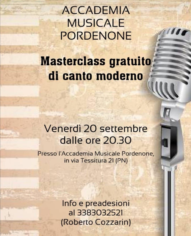 Masterclass di Canto moderno. Docente Roberto Cozzarin.