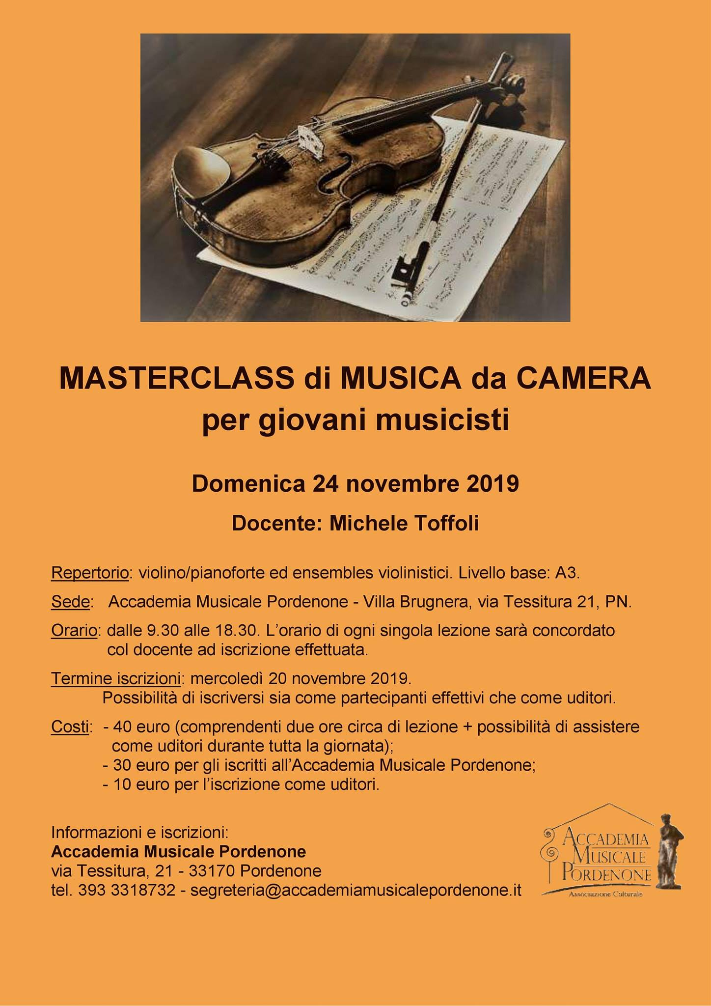 Masterclass di Musica da Camera per giovani musicisti. Docente: Michele Toffoli.